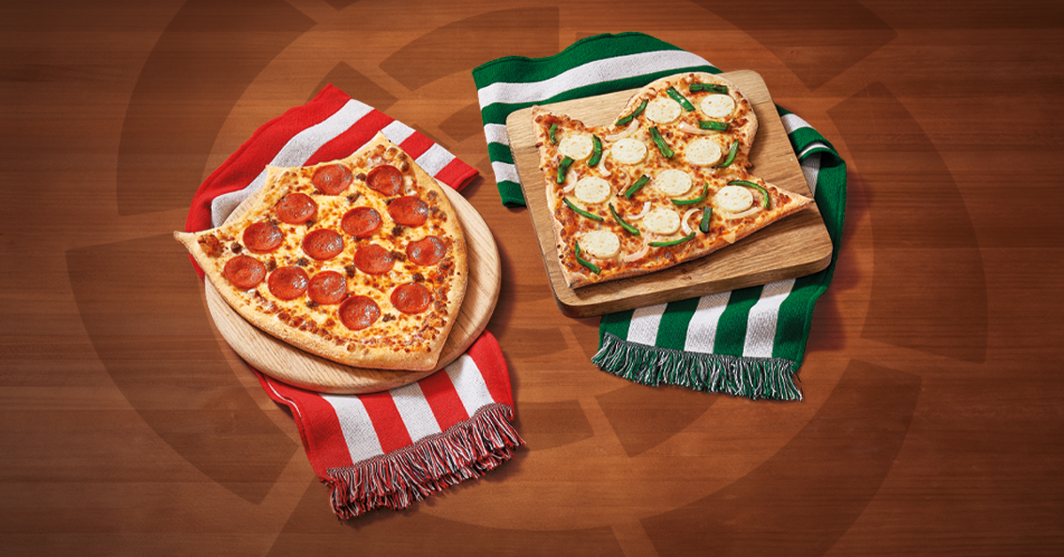 Pizzas con el escudo del Sevilla Fútbol Club y del Real Betis Balompié