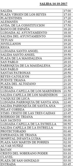 Horarios oficiales vuelta Salud de San Gonzalo