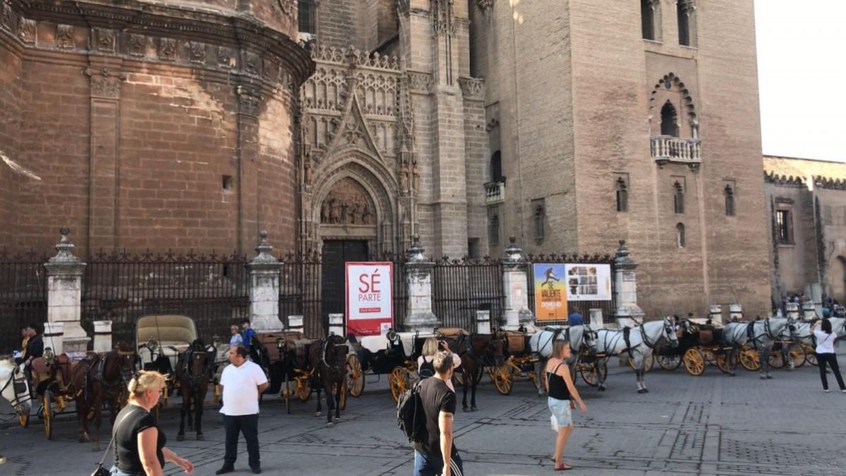 Coches de caballos estacionados en la puerta dela catedral de Sevilla.