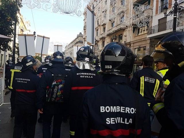 Protesta de los bomberos de Sevilla.