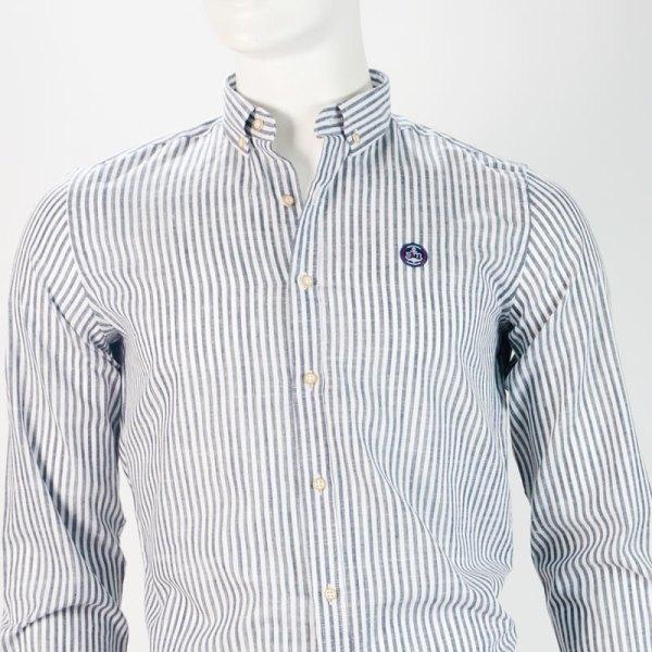 Sevillano y Molina – Camisa Semientallada Rayas Marino