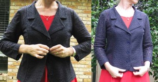 Two photos showing different views of Kwik Sew 3334 with a notched collar