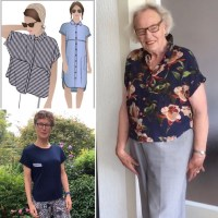 Sewing patterns featured an older person modelling it