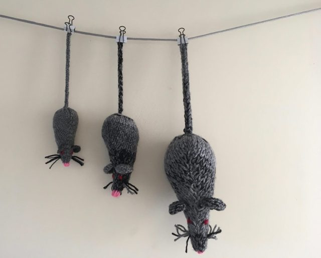 three knitted mice