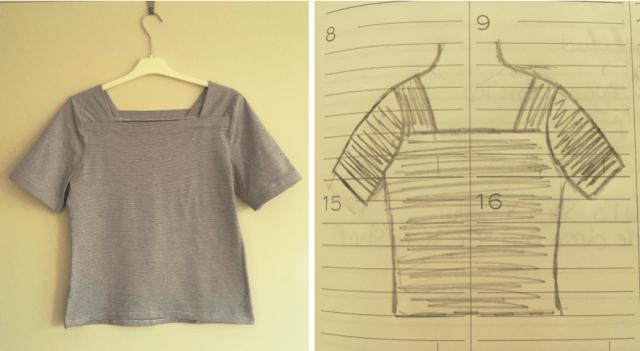 smal gestreept T-shirt met vierkante hals