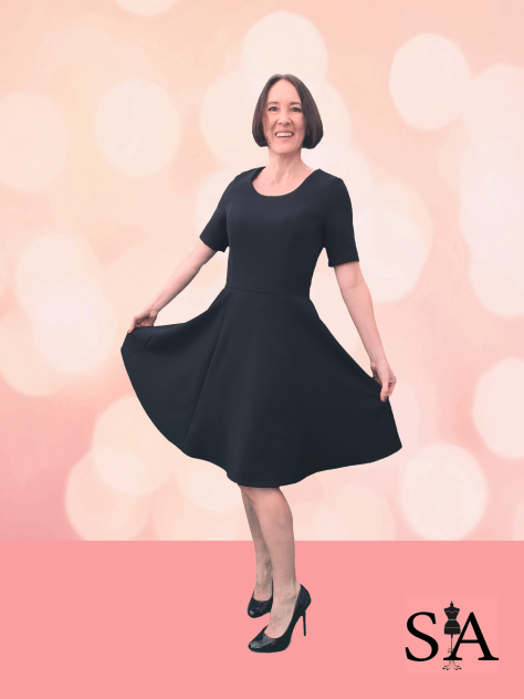 Black Full Circle Skirt Dress - Finished Dress