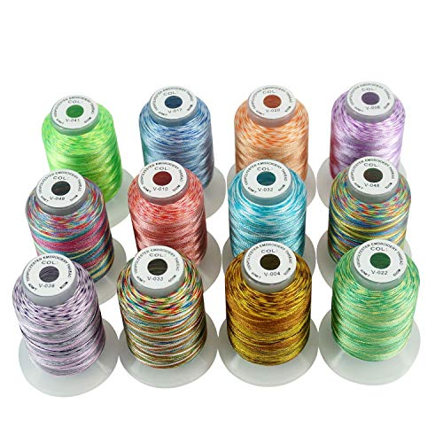 New Brothread 12 Colors Variegated Polyester Embroidery Machine Thread