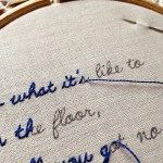 I love the cross-stitching lyrics one!