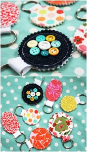 Given the teeny-tiny-ness of keychains, this craft would be a good way to use some of that excess fabric!
