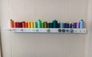 I keep my standard, quilting cotton weight threads organized by ROYGBIV (red, orange, yellow, green, blue, indigo, violet).