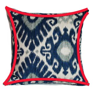This is an example of a pillow cover that didn't have rounded corners before it was sewn.
