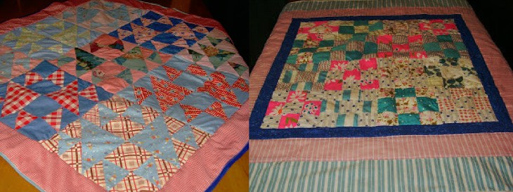 The blocks in these quilts were pieced by my mother's and my husband's grandmothers. I found them in their sewing boxes & put them together with borders to make these lap quilts for our moms to share with their grand babies.