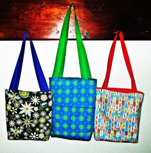 Reversible tote bags are easy to sew in a hurry & the possible variations are endless.