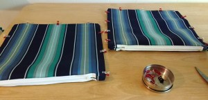 Unroll your fabric and clip the panels right-sides together.
