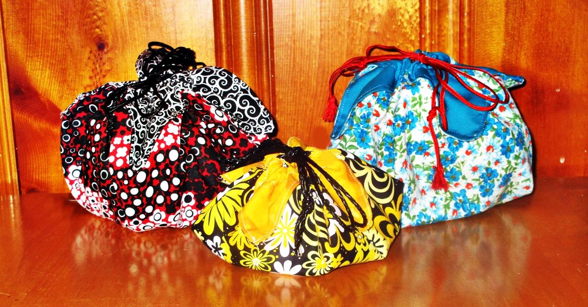 Lotus drawstring pouch make great gift bags.