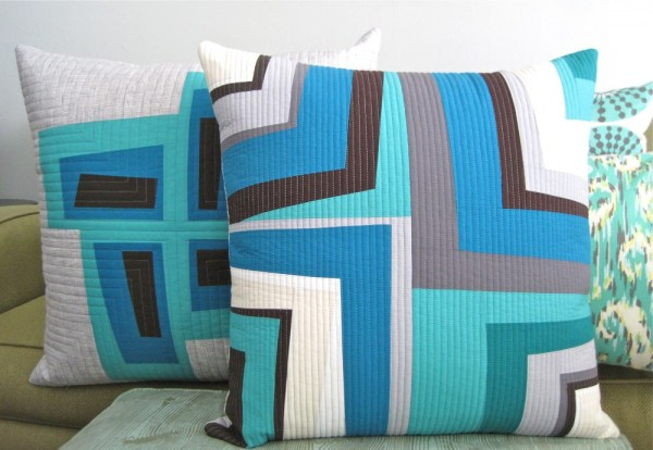 sewkatiedid/improv log cabin pillows