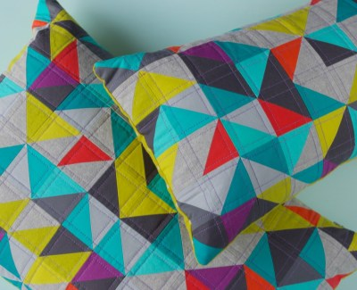 Half-Square-Triangle LOVE pillows
