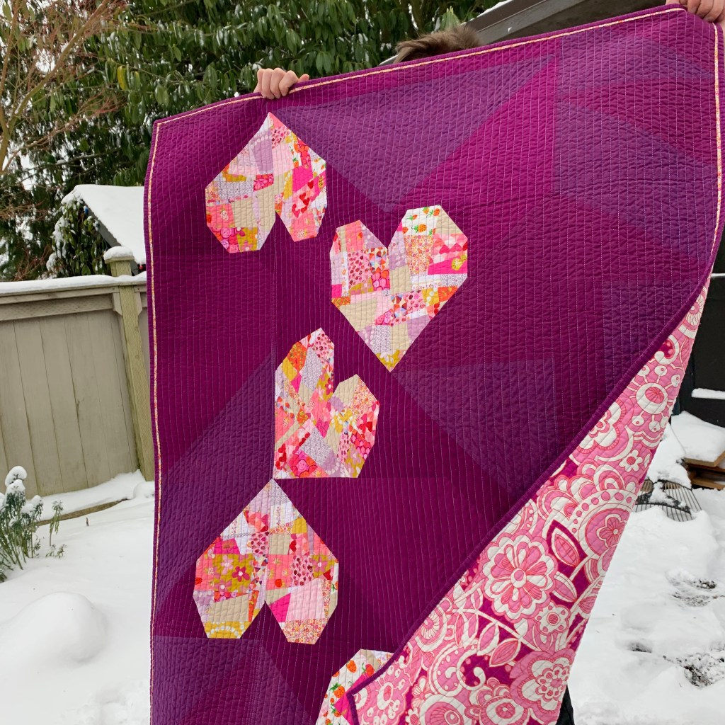 sew katie did | Seattle Modern Quilting & Sewing Studio | BIG Tossed Hearts Quilt