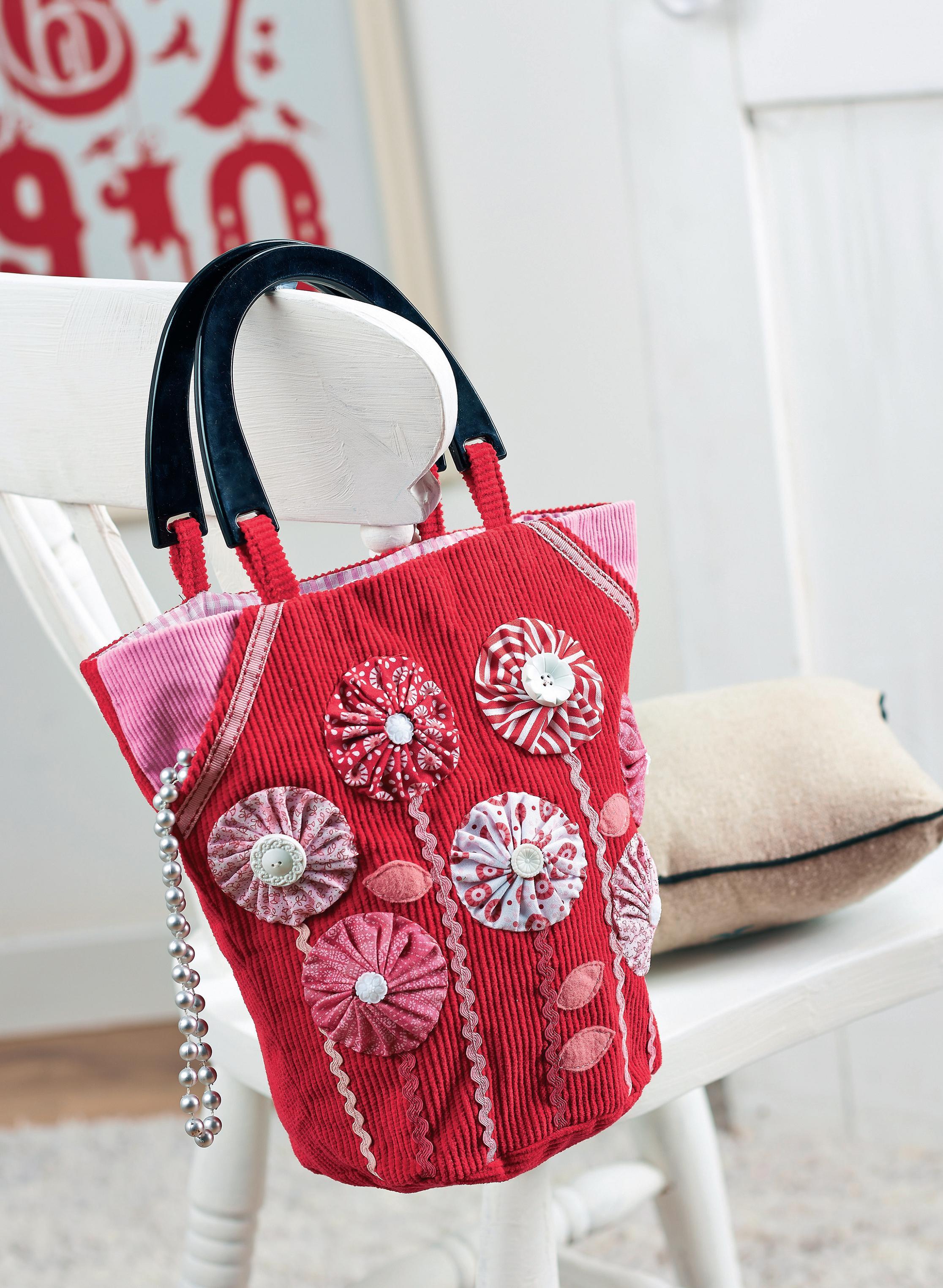 Corduroy Yo Yo Bag Free Sewing Patterns Sew Magazine