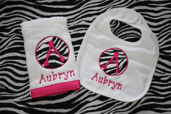 personalized bib & burp set
