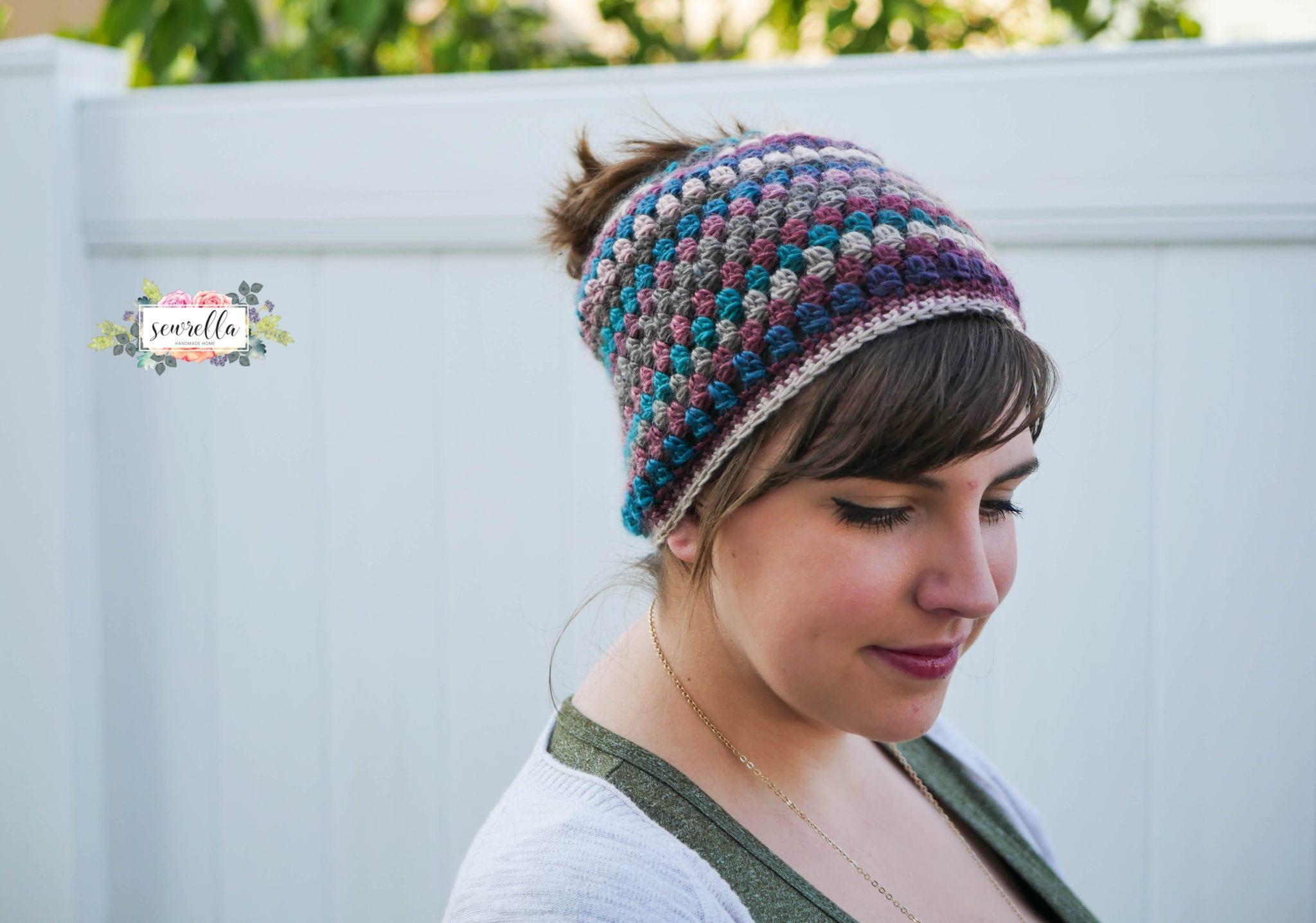 Crochet Puff Stitch Bun Beanie Sewrella