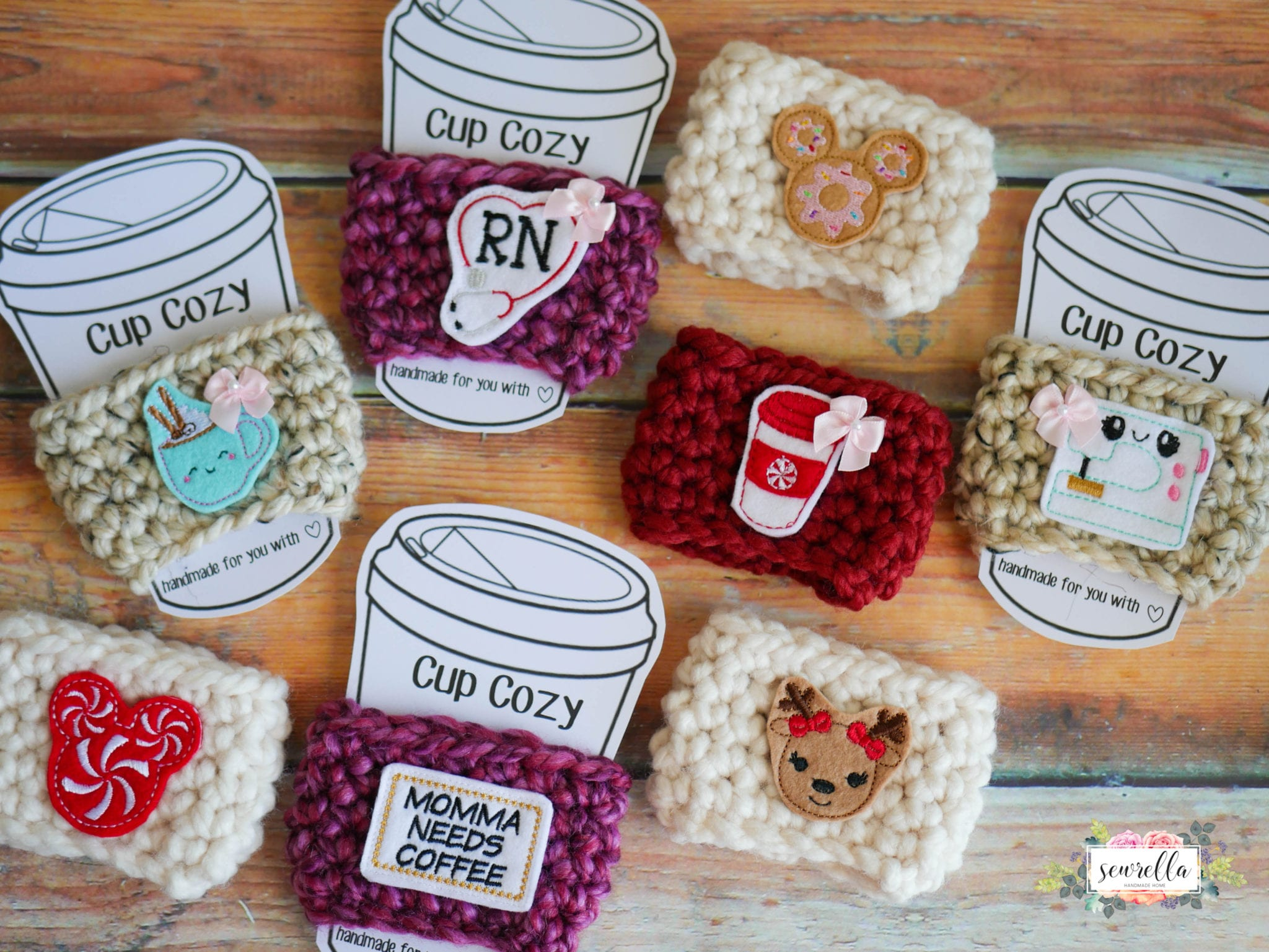 Custom Crochet Cup Cozies Using Felties Sewrella