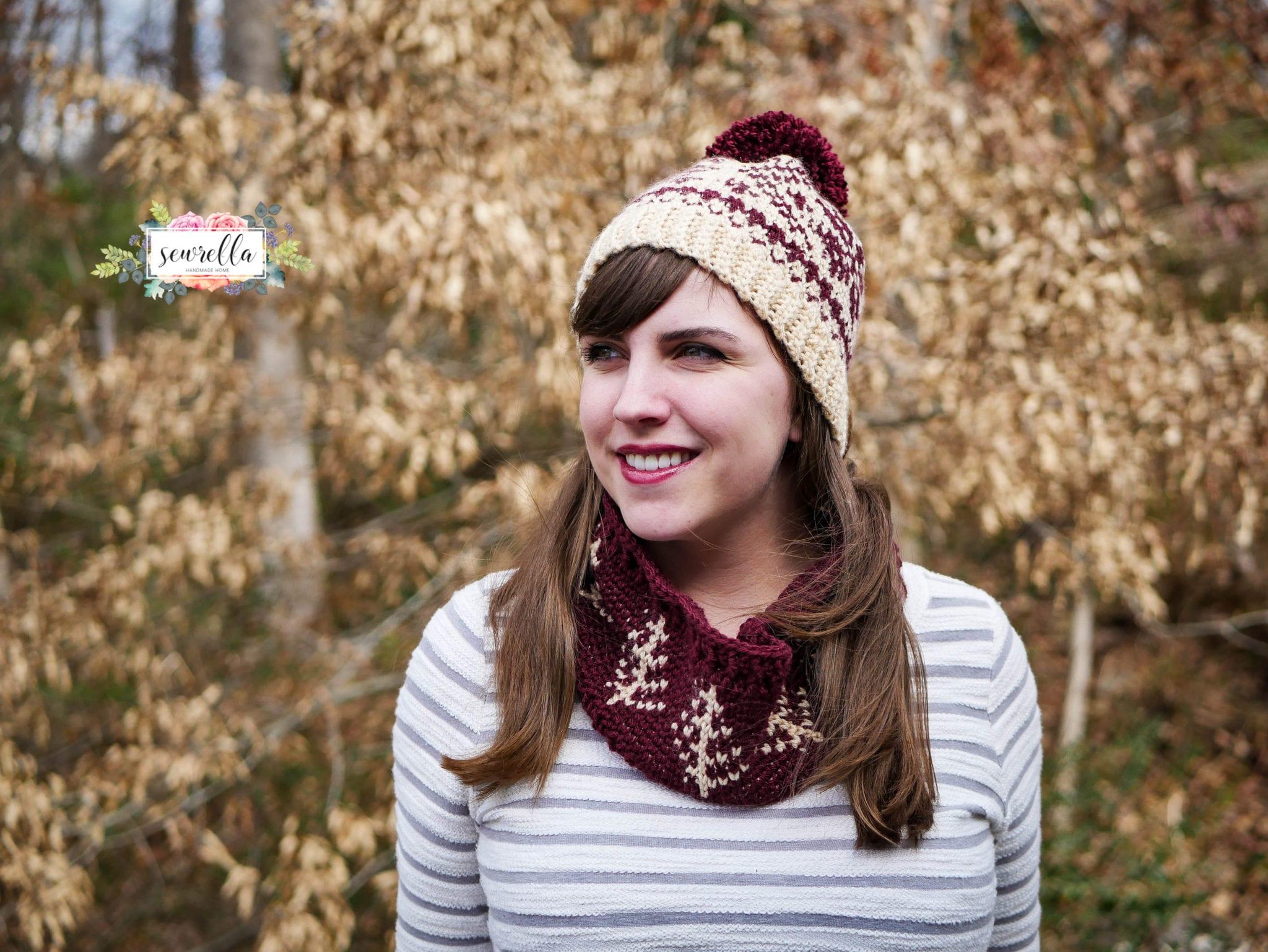 Faux Knit Fair Isle Crochet Toque & Cowl - Sewrella