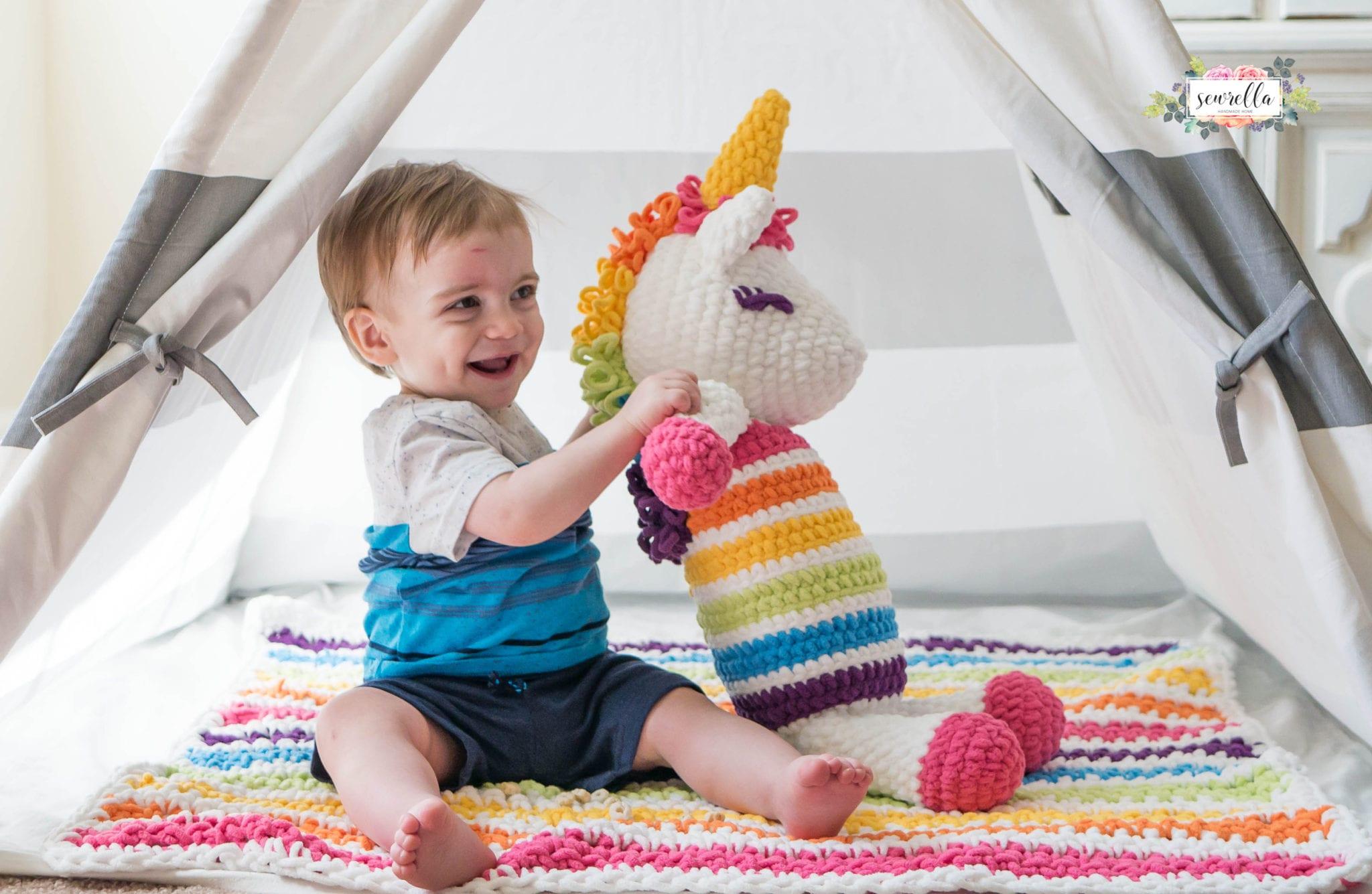 Free Amigurumi Unicorn Pattern : Rainbow cuddles crochet unicorn pattern one dog woof