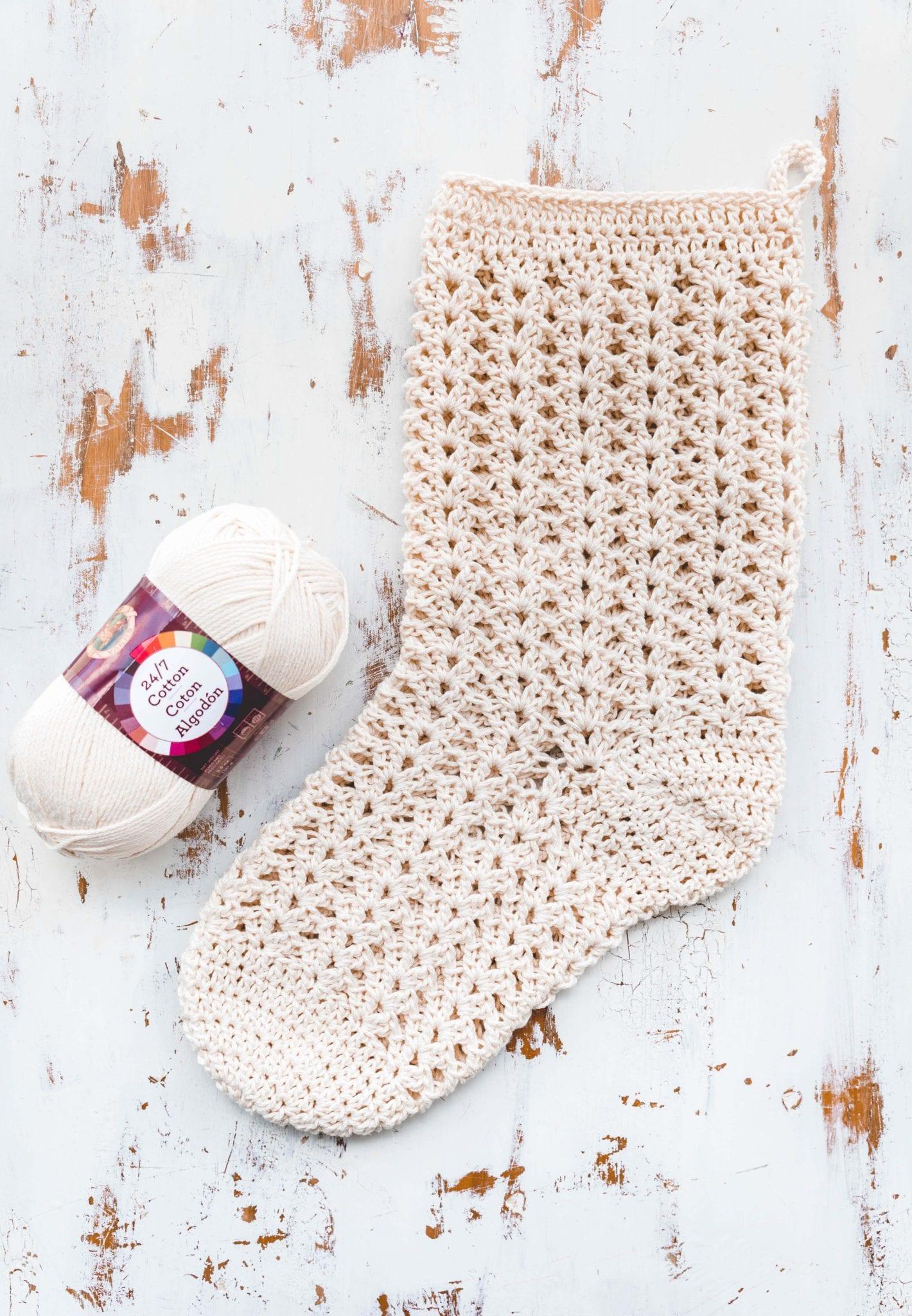 Crochet Farmhouse Christmas Stocking - Sewrella