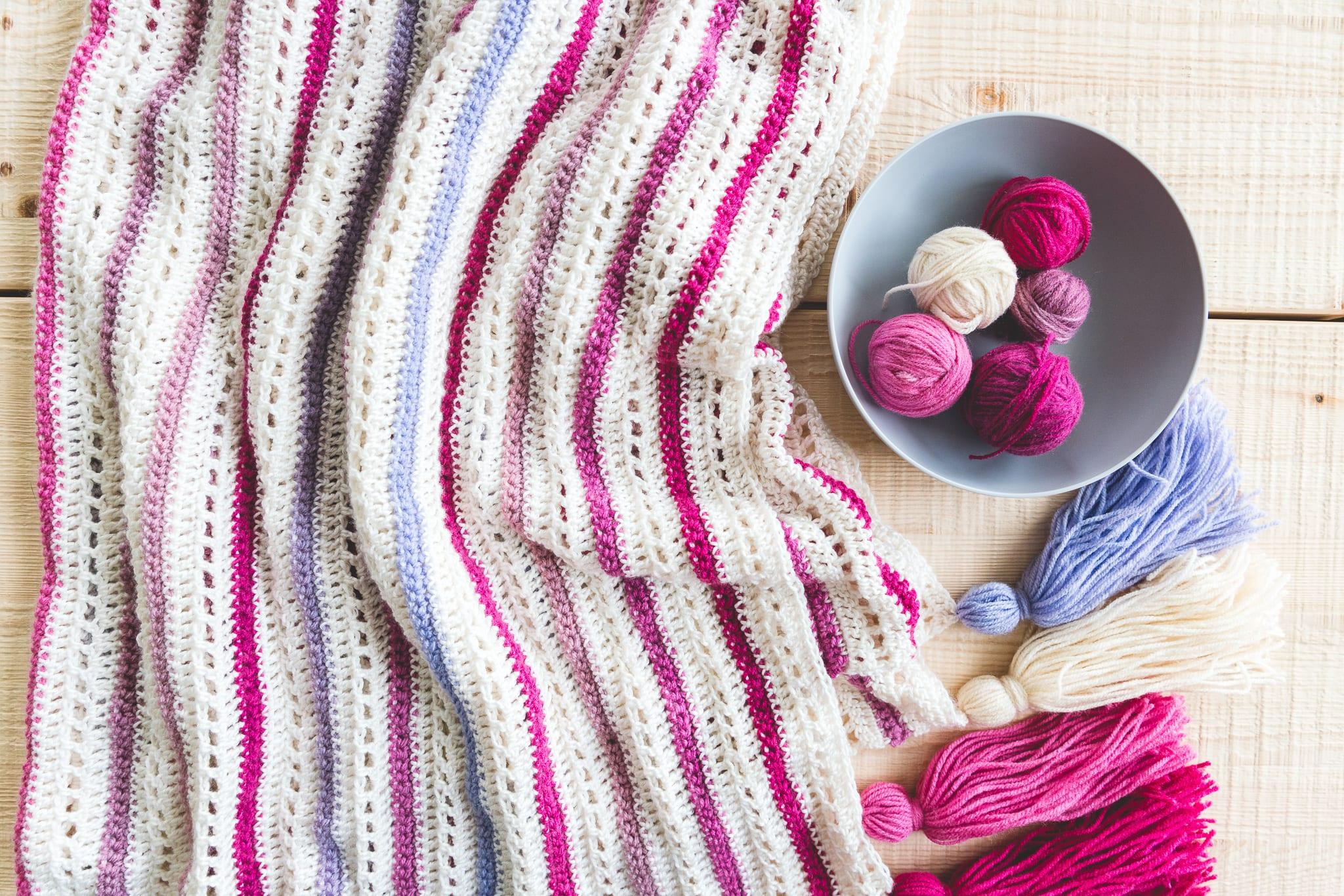 Crochet Cake Stripe Blanket - Sewrella