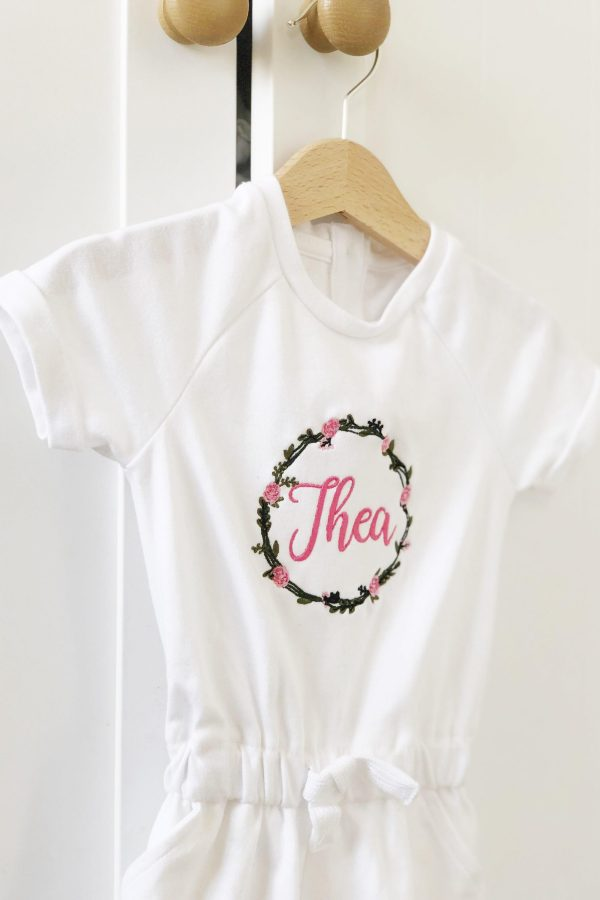 Personalised Children's Floral Wreath Playsuit – www.sewsian.com