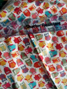 Multicoloured owl cotton material