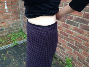 Side View showing black suedette waistband