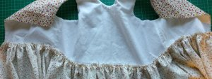 Bodice pinned to skirt