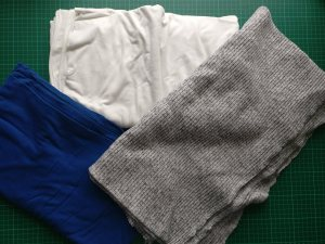 3 Different polyester / viscose / elastane knit fabrics