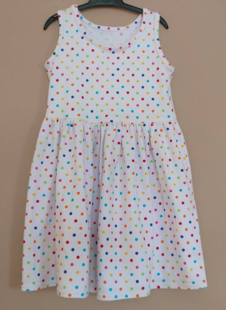 Girls polkadot dress front view