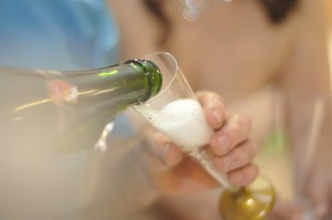 champagne, bubbly, sparking wine, pouring into glass