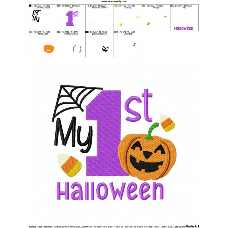my 1st halloween machine embroidery design for