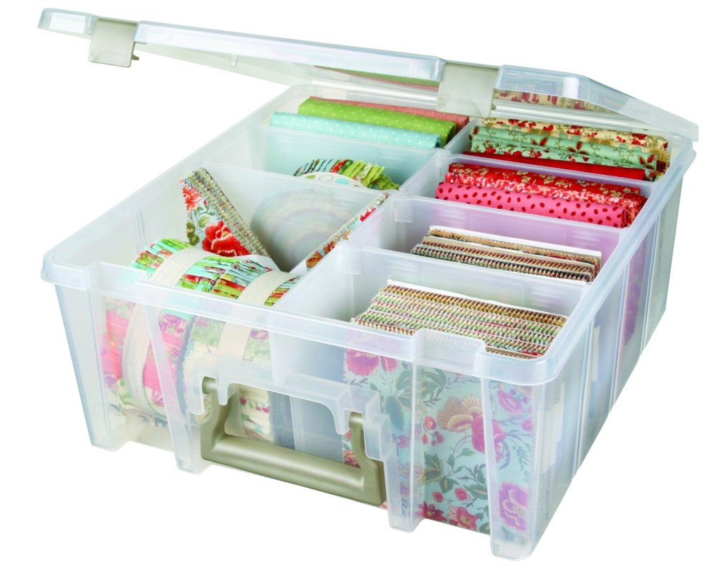 storage bin with fabric inside