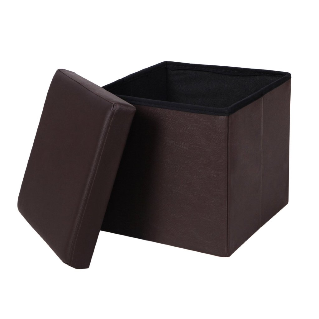brown leather small ottoman with removable lid for storage