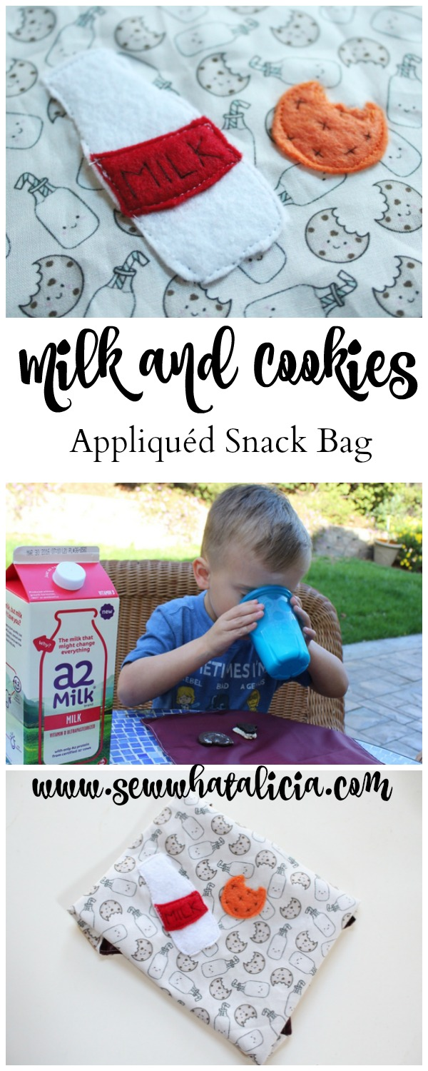 Milk and Cookies Appliqué Reusable Snack Bag   www.sewwhatalicia.com