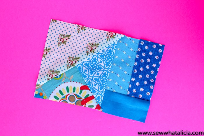 Quilted Coaster Pattern: Pictured: Scraps made into a rectangle. This easy sewing project is also a free sewing project that you can use as a great scrap buster. Don't miss the video tutorial. Click for the free pattern and video walkthrough. | www.sewwhatalicia.com