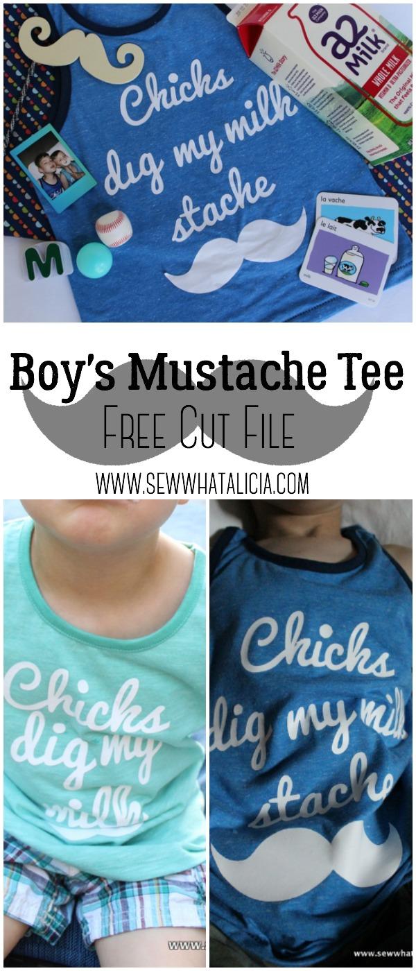 Milk Moustache Boy's Tee - Free Cut File | www.sewwhatalicia.com