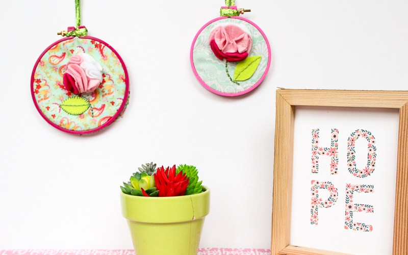 Felt Flower Embroidery Hoop Art