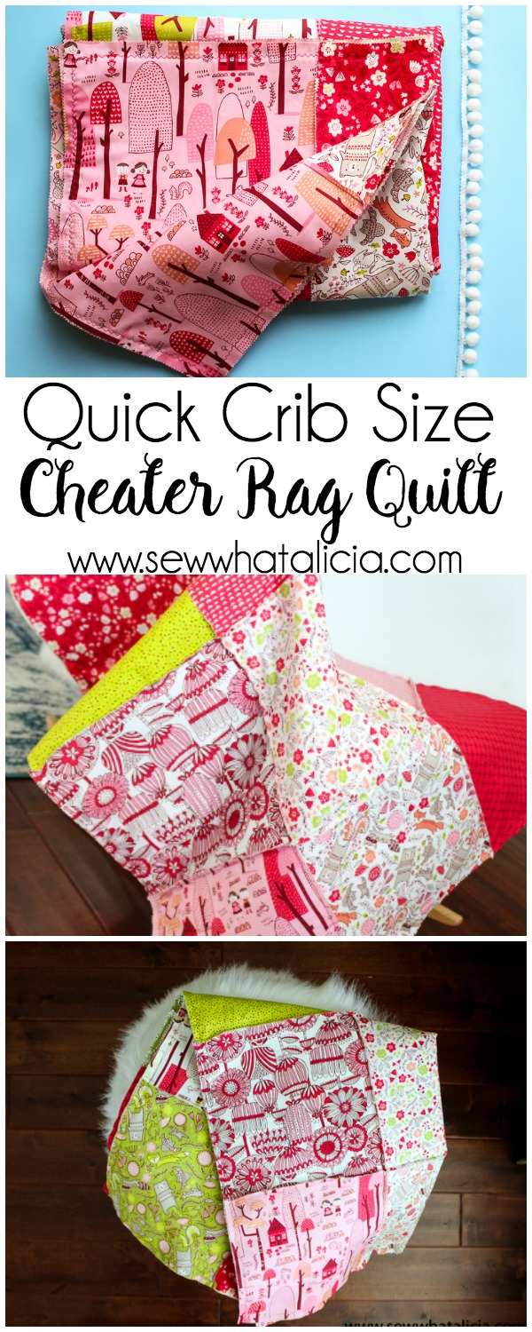 Quick Cheater Baby Rag Quilt : This quick cheater version of a rag quilt is so easy! Use a precut layer cake and it comes together in one day! Click through for the full tutorial | www.sewwhatalicia.com