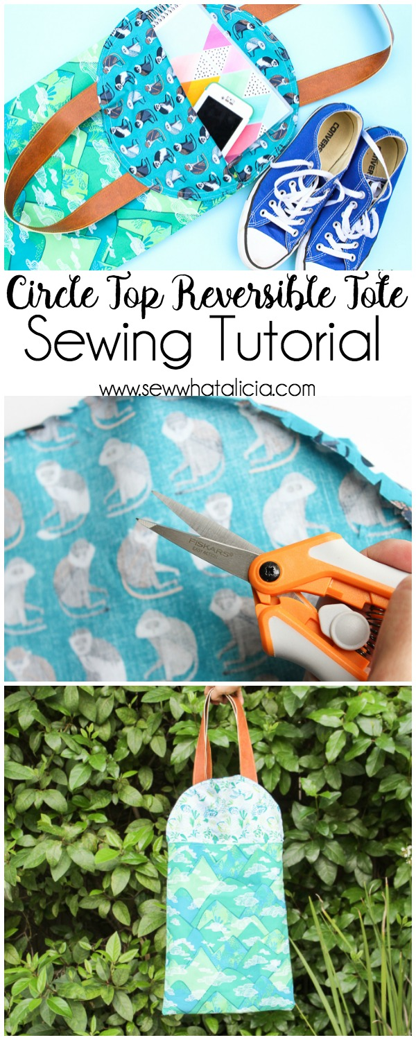 Circle Top Reversible Tote Sewing Tutorial: This tutorial is so fun for making a reversible tote. The circular top is a fun and unique idea. Click through for the full tutorial. | www.sewwhatalicia.com