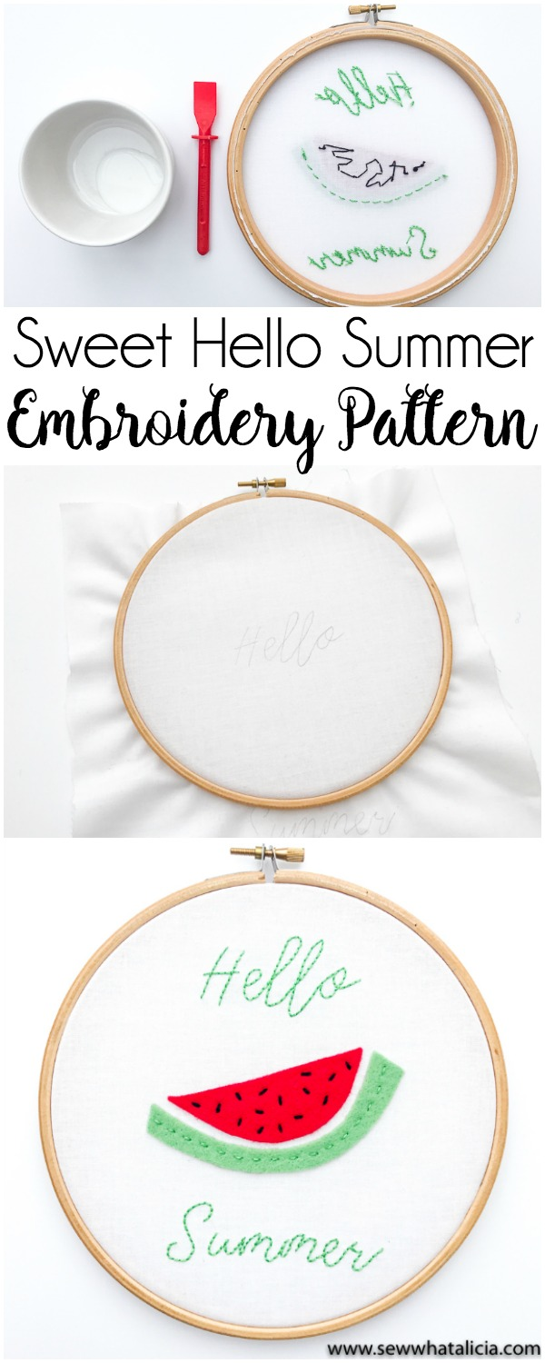 Hello Summer Sweet Embroidery Pattern and Tutorial: Head over for a great intro to embroidery tutorial. This project is perfect for beginners. Click through for the full walkthrough.   www.sewwhatalicia.com