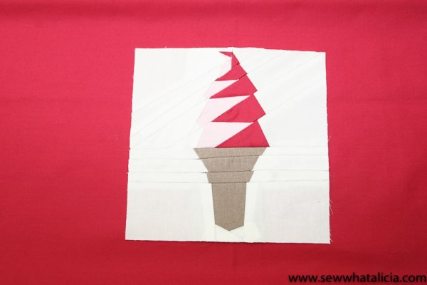 Ice Cream Cone Paper Piecing Tutorial: If you are new to foundational paper piecing (FPP) this is the tutorial for you! Learn to sew a paper pieced ice cream cone. This is a great beginner sewing tutorial. Click through for the full instructions. | www.sewwhatalicia.com