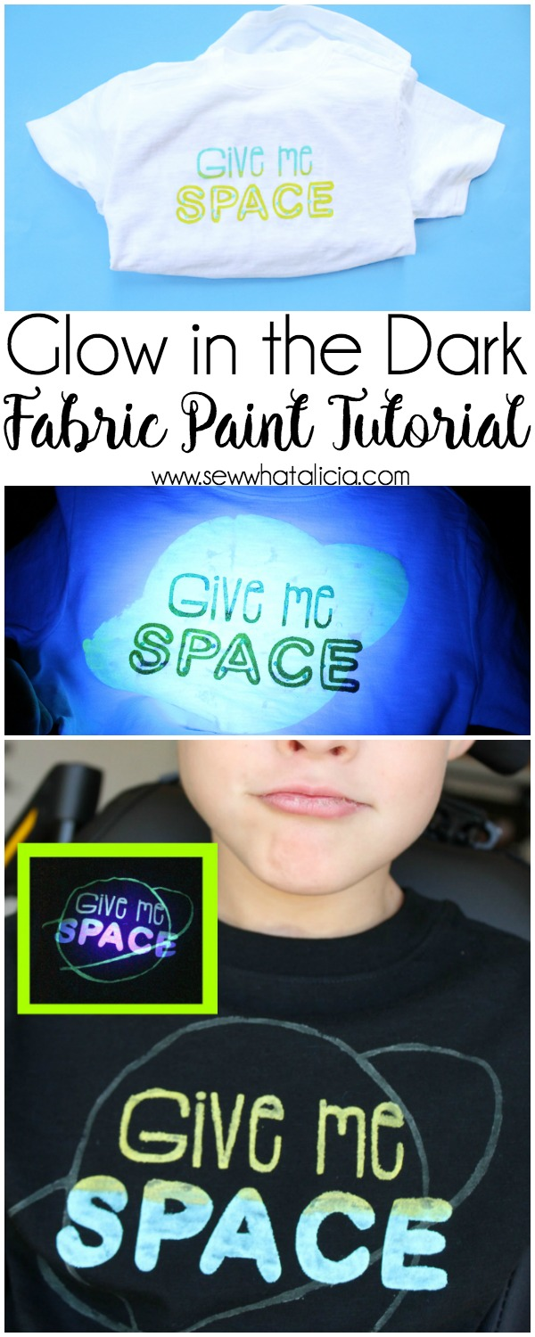 Glow in the Dark Fabric Paint Tutorial: This tutorial is great for learning how to use fabric paint and a stencil to create custom t-shirts. Plus get a cute free cut file to make a space inspired shirt. Click through for the full tutorial.| www.sewwhatalicia.com