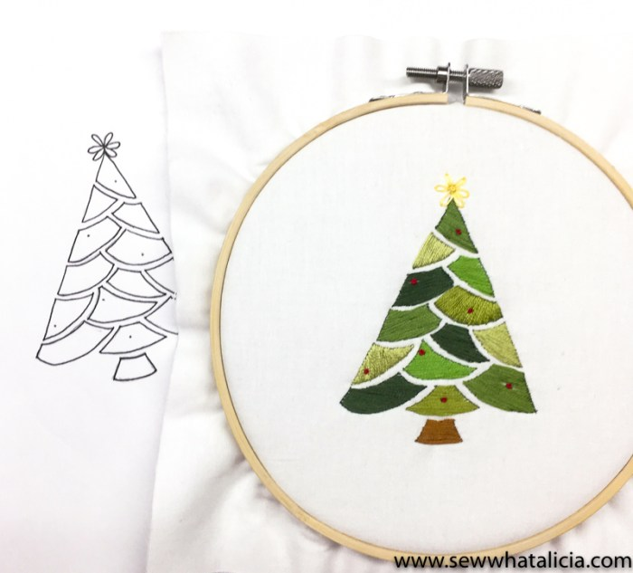 pictured christmas tree embroidery pattern